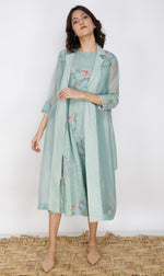 Printed Dress And Jacket Set In Silk And Organza