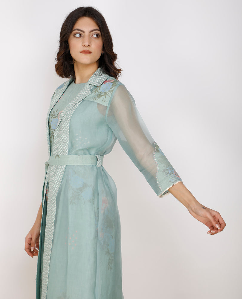 Mint Printed Jumpsuit And Jacket Set In Linen And Organza