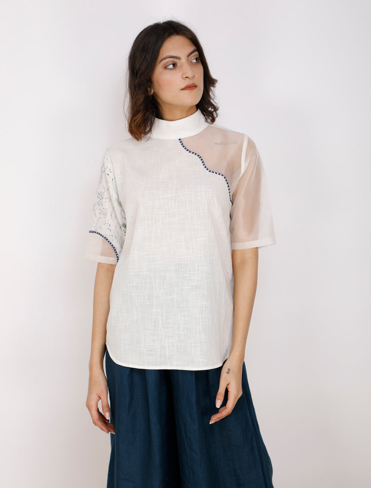 Ivory With Indigo Print Peeping Shoulder Cotton Top