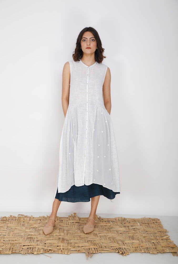Ivory Front Gathered Cotton And Georgette Tunic With Flare Pants