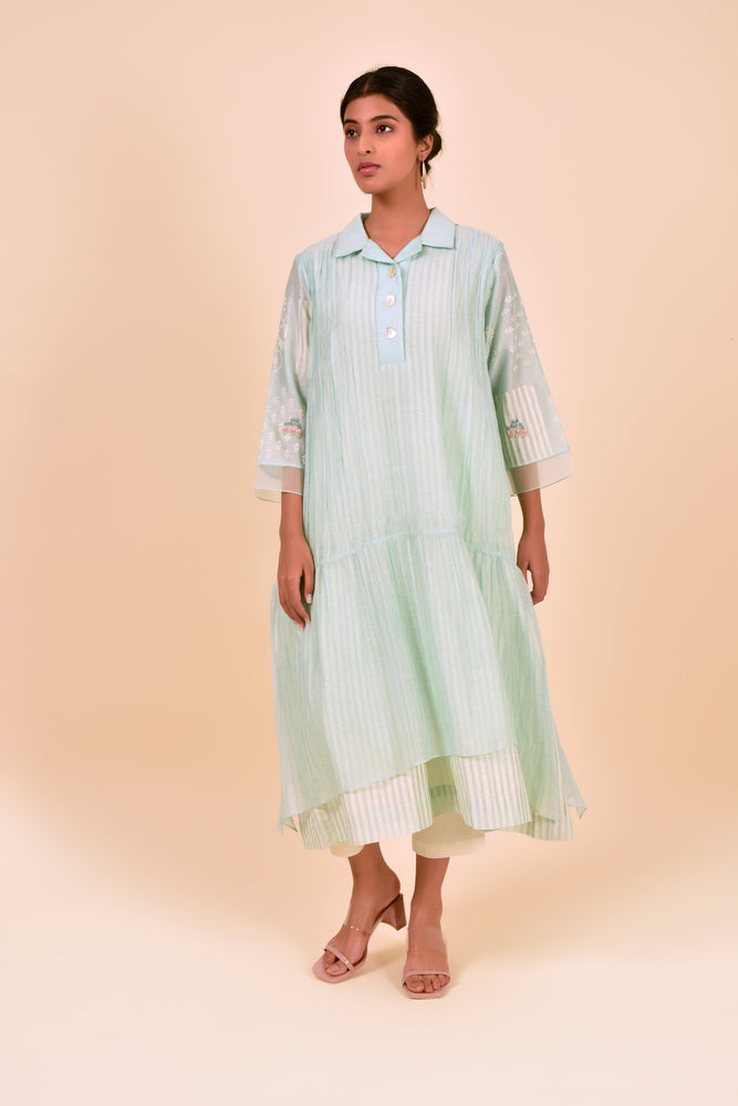 Mint Double Layer Multi Block Tunic