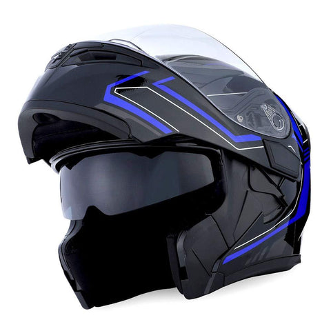 1Storm Motorcycle Modular Full Face Helmet Flip up Dual Visor Sun Shield: HB89