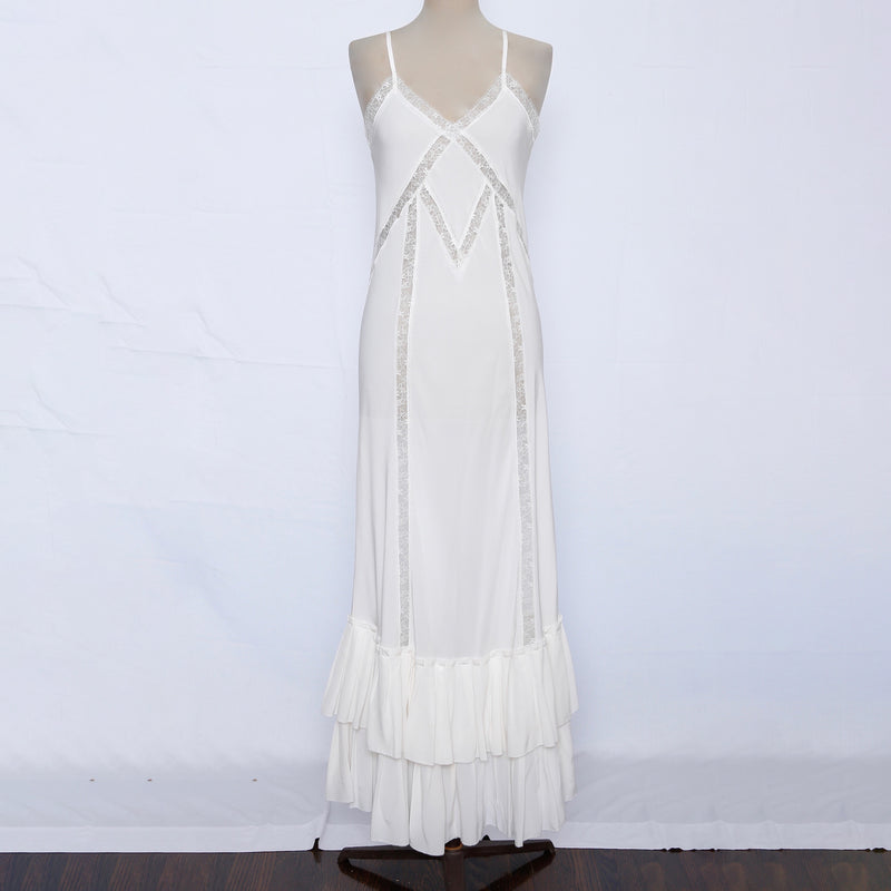silk cami dress, maxi slip silk dress, vintage lace silk dress, ivory wedding dress, 20's white lace dress, sand washed silk dress, chantilly lace long dress, pleated bottom silk dress, made in us silk dress, lace detail white dress, white cami silk dress, limited edition dress