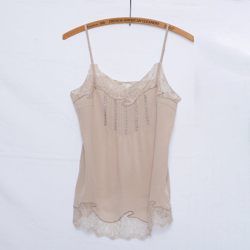 silk cami, mocha silk top, lace detail silk cami, pintuck detail cami top, venice lace cami, lace embroidered cami, lace cutout cami, vintage style silk cami, vintage lace cami, taupe silk  lace cami, nude lace silk cami, pintuck detail lace cami