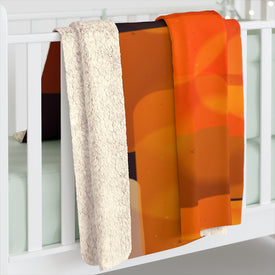Abstract Orange and Black Sherpa Fleece Blanket, Fluffy Warm Soft Throw Blanket, Beautiful Custom Print Bedding,Colorful Bedclothes Coverlet