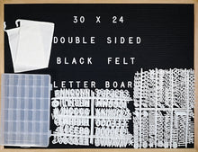 "Load image into Gallery viewer, Double-Sided Black Felt Letter Board & White Marker Board 30 X 24 Landscape Orientation With 692-Piece Set of 1"" and 3/4"" Letters, Symbols"