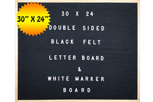 "Double-Sided Black Felt Letter Board & White Marker Board 30 X 24 Landscape Orientation With 692-Piece Set of 1"" and 3/4"" Letters, Symbols"
