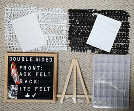 Double-Sided Black & White Felt Letter Board 10X10 With 692 Letter Set White-Black, 36 Slot Organizer Set, Easel, Cutters, 2 Letter Pouches