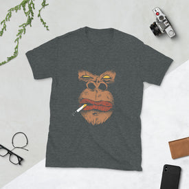 Angry Gorilla Mobster Look Shirt, Gorilla With Cigarette T Shirt T-shirt, Gift For Him Her, Good Vibes, T Shirts For Women Men,T-shirt Women