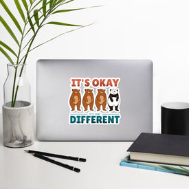 Be Different Vinyl Sticker, Funny Bear Decal, Different Panda Cute Stickers, Funny Panda Laptop Decal, Laptop Sticker Stickers, Stickers