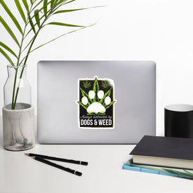 Dog Weed Paw Vinyl Sticker, Funny Paw Decal, Hemp Leaf Cute Stickers, Green White Paw Laptop Decal, Laptop Sticker Stickers,Stickers Macbook