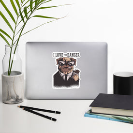 Danger Pug Vinyl Sticker, Funny Pug Decal, Pug In Black Cute Stickers, Dog Animal Laptop Decal, Laptop Sticker Stickers,Stickers Macbook Pro