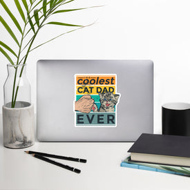 Cat Dad Vinyl Sticker, Coolest Cat Dad Decal, Funny Cat Cute Stickers, Kittie Laptop Decal, Laptop Sticker Stickers,Stickers Macbook Pro