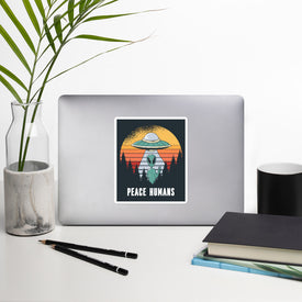 Alien Peace Sticker Stickers, Alien Peace Decal, Cute Stickers, Laptop Decal, Laptop Sticker Stickers, Macbook Decal, Flying Saucer UFO
