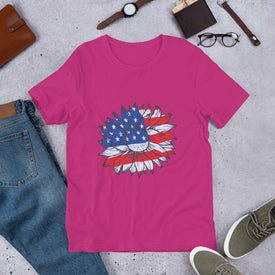 American Flag Sunflower, American Flag Clothing, American Flag Shirt T Shirt, Red White And Blue,USA Flag Shirt, 4th Of July Shirt,Patriotic