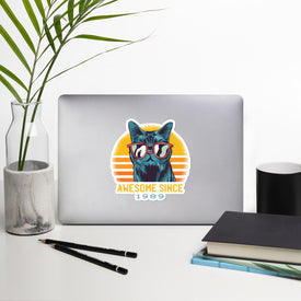 Awesome Since 1989 Vinyl Sticker, Cat With Glasses Decal, Vintage 1989 Cute Stickers, Born in 1989 Laptop Decal, Laptop Sticker Stickers