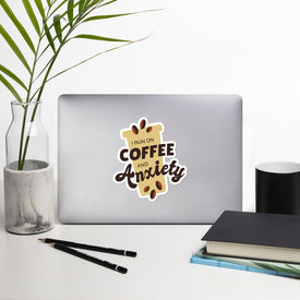 Coffee Vinyl Sticker, Coffee Anxiety Decal, Funny Coffee Cute Stickers, Run On Coffee Laptop Decal, Laptop Sticker Stickers,Stickers Macbook