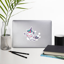 Flying Baby Unicorn Vinyl Sticker, Colorful Unicorn Decal, Unicorn Middle Finger Cute Stickers, Babycorn Laptop Decal, Laptop Stickers