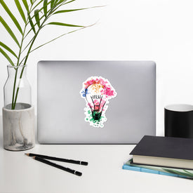 Colorful Light Bulb Vinyl Sticker, Colorful Light Decal, Light Bulb Cute Stickers, Paint Grudge Bulb Laptop Decal, Laptop Sticker Stickers