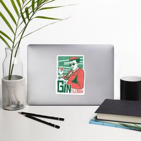 Gintleman Vinyl Sticker, Gin Decal, Funny Gin Cute Stickers, Gin Laptop Decal, Laptop Sticker Stickers, Stickers Macbook Pro, Gin Drinking