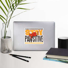 Cat Pawsitive Vinyl Sticker, Funny Cat Decal, Stay Positive Cute Stickers, Cat Laptop Decal, Laptop Sticker Stickers, Stickers Macbook Pro