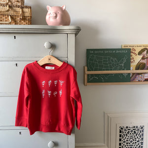 """Stay Kind"" ASL Fleece Crewneck (Schoolhouse Rojo)"
