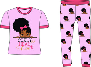 Curly Head Cutie Girls Pink Cotton Pajamas