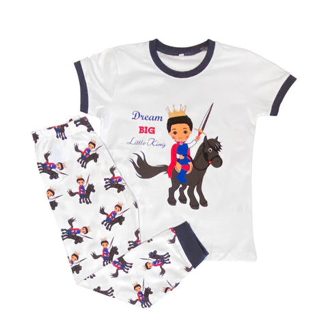 Dream Big Little King Boy Black Cotton Pajamas