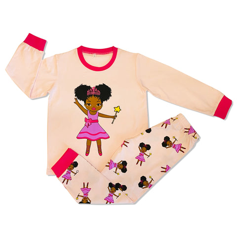 Long Sleeve Pink Fairy Princess Cotton Pajamas