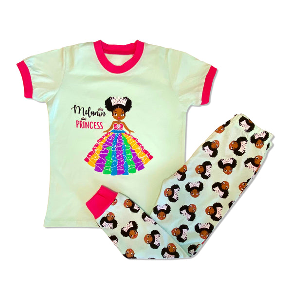 Melanin Princess Girl Mint Cotton Pajamas