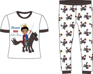 Dream Big Little King Boy Black Cotton Pajamas | Pre-Order