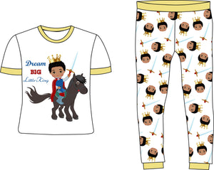 Dream Big Little King Boy Tan Cotton Pajamas