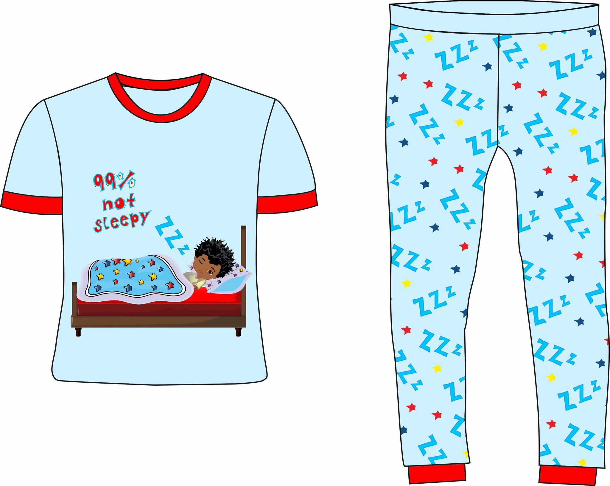99% Not Ready for Bed Boys Blue Cotton Pajamas | Pre-Order