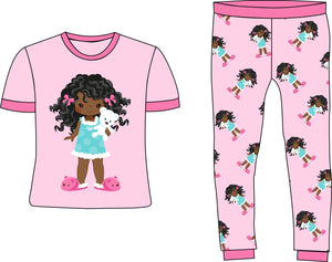 Slumber Party Girls Pink Cotton Pajamas