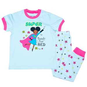 Dreams and Jammies Super Girl Teal Toddler Kids Girls Cotton Pajama Set