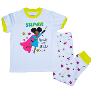 Dreams and Jammies Super Ready for Bed Cotton Toddler Kids Girls Pajama Sleepwear Set