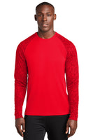 Long sleeve performance sport tek color block digital camo tee
