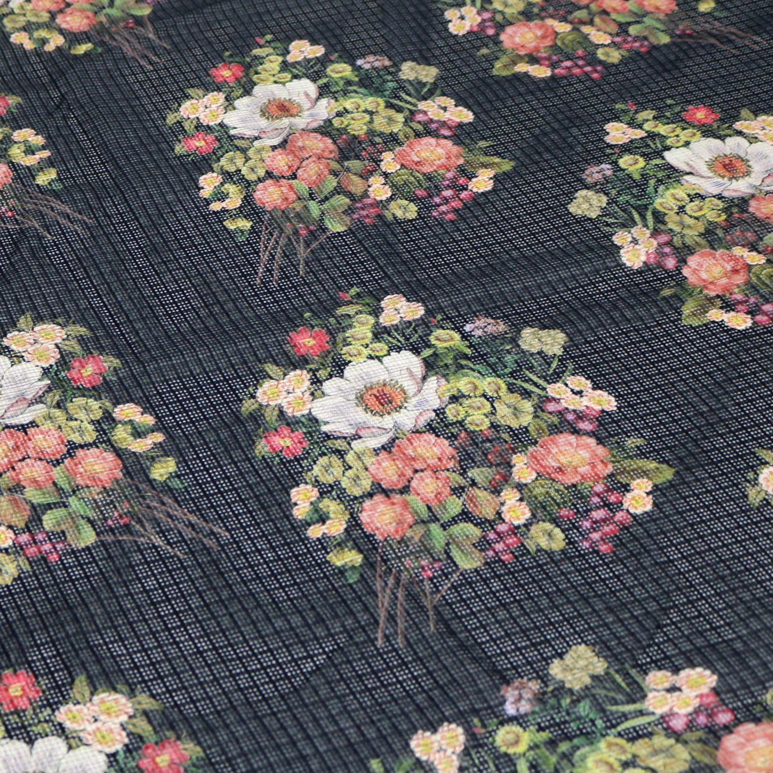 Flowers Laying on Black Base Digital Printed Kota Doria Fabric - FAB VOGUE Studio