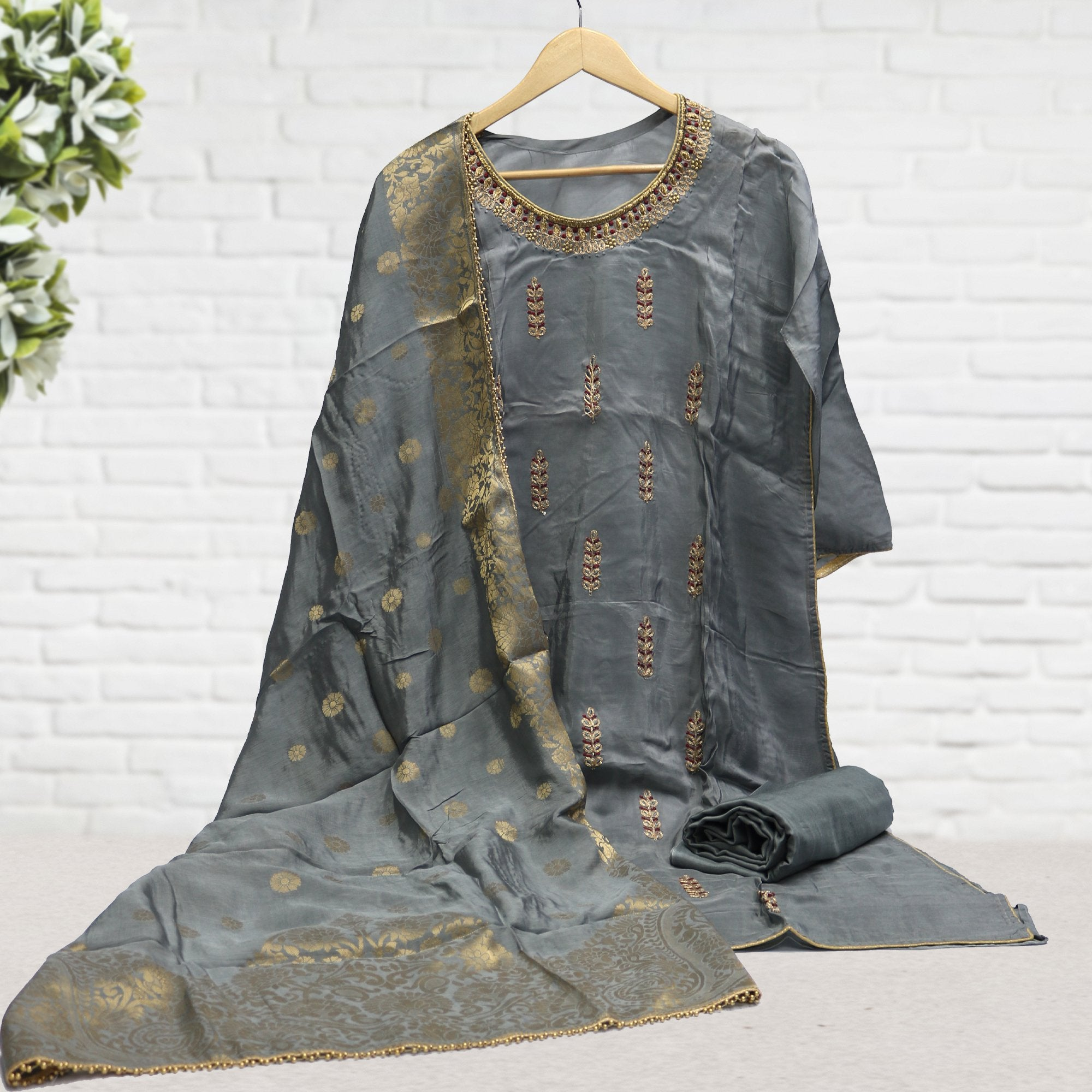 Semi Stitched Grey Color Suit with Dupatta & Bottom - FAB VOGUE Studio