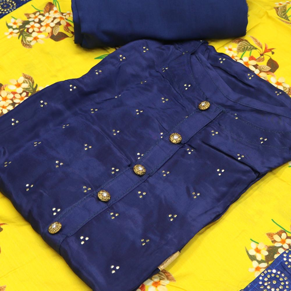 Semi Stitched Blue Color Suit with Dupatta and Bottom - FAB VOGUE Studio