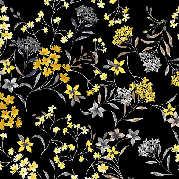Black and Yellow Flower Ditzy Digital Printed Fabrics