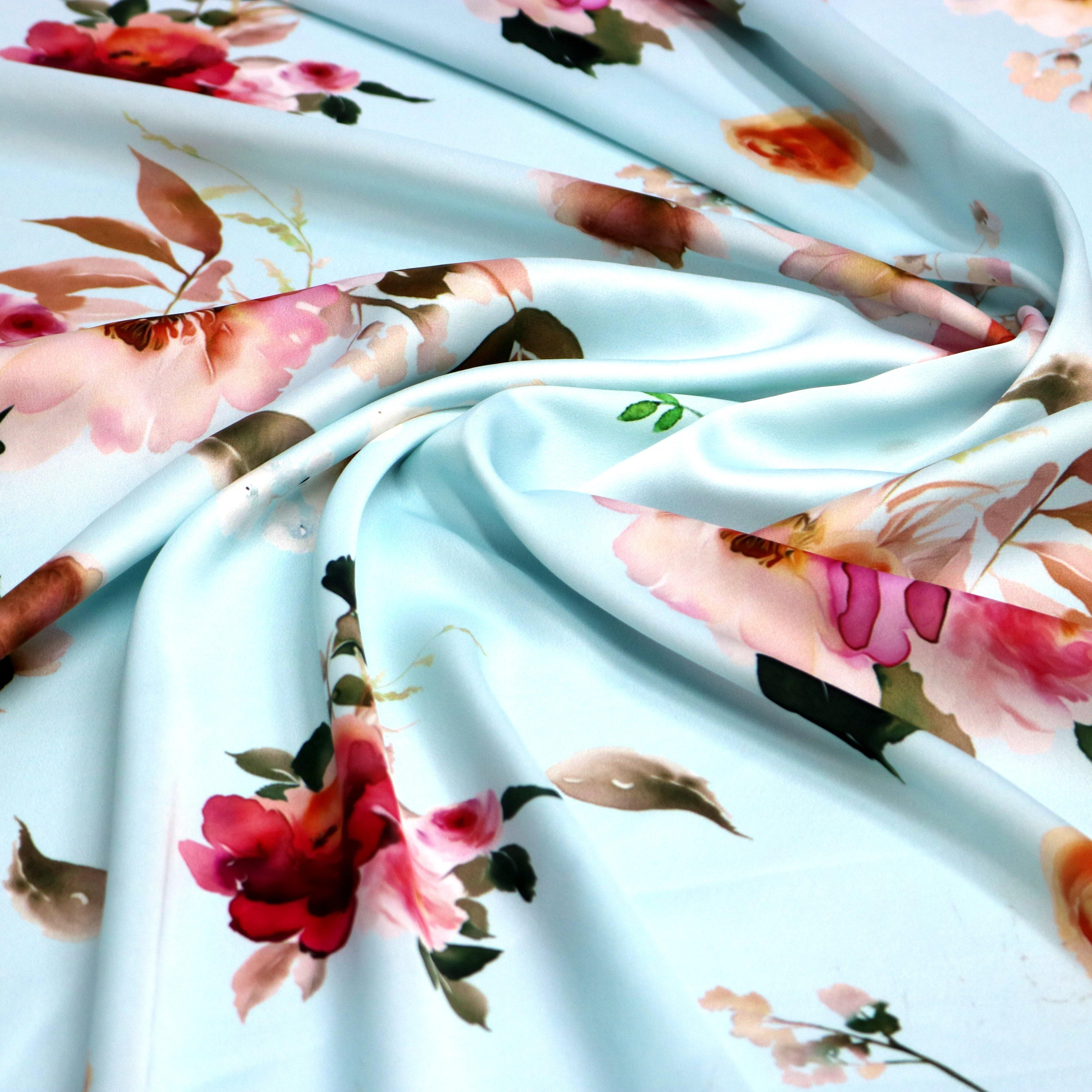High Quality Multicolor Floral on Rama Digitally Printed Fabrics - FAB VOGUE Studio