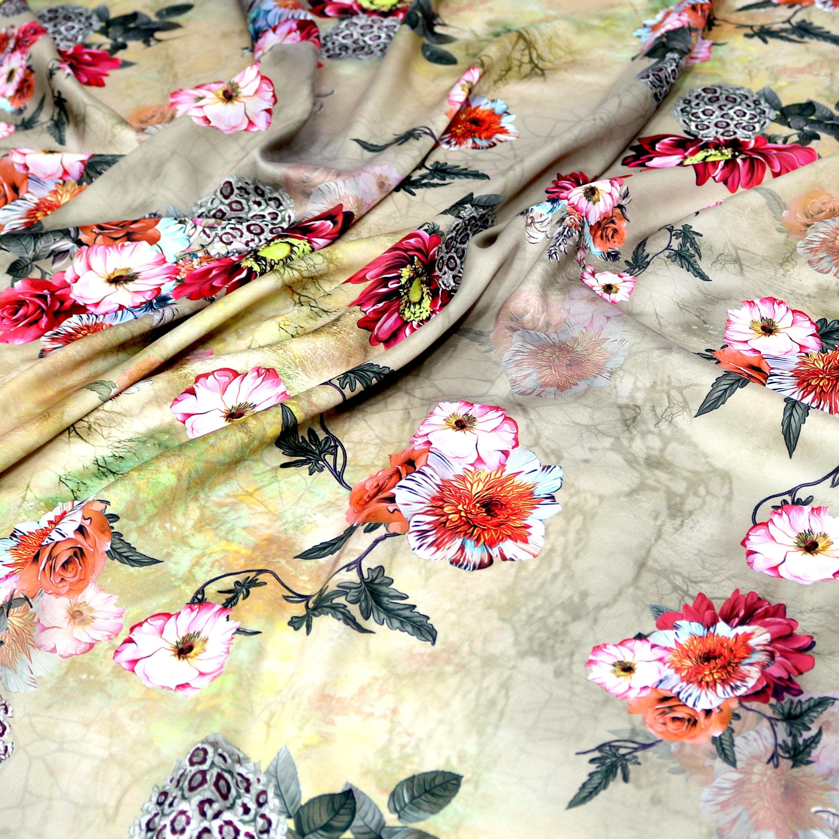 High Quality Multicolor Floral Digitally Printed Japan Satin Fabrics - FAB VOGUE Studio