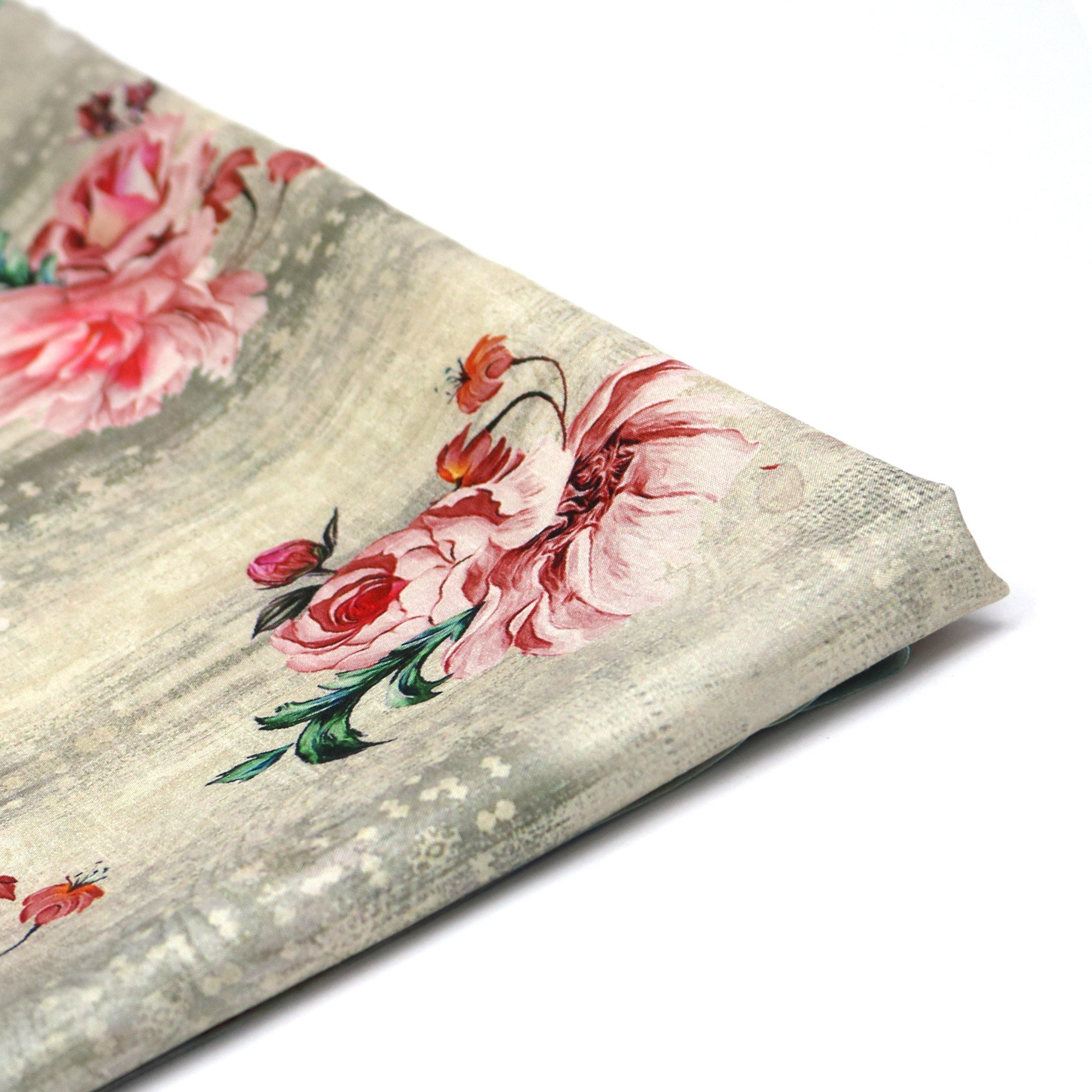 Red Flower Digital Printed Kora Silk Fabric - FAB VOGUE Studio