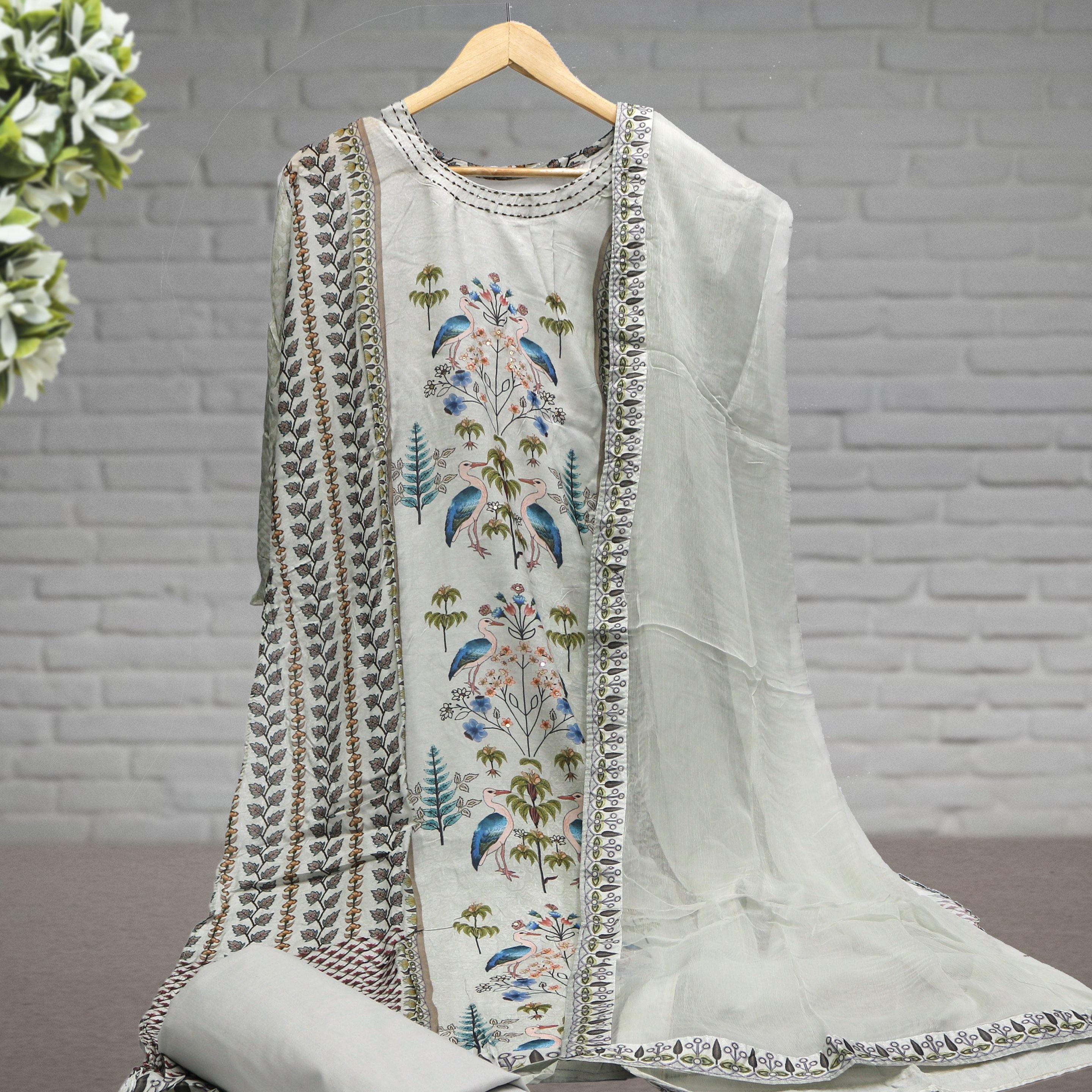 Semi Stitched Digital Printed Suit with Dupatta & Bottom - FAB VOGUE Studio