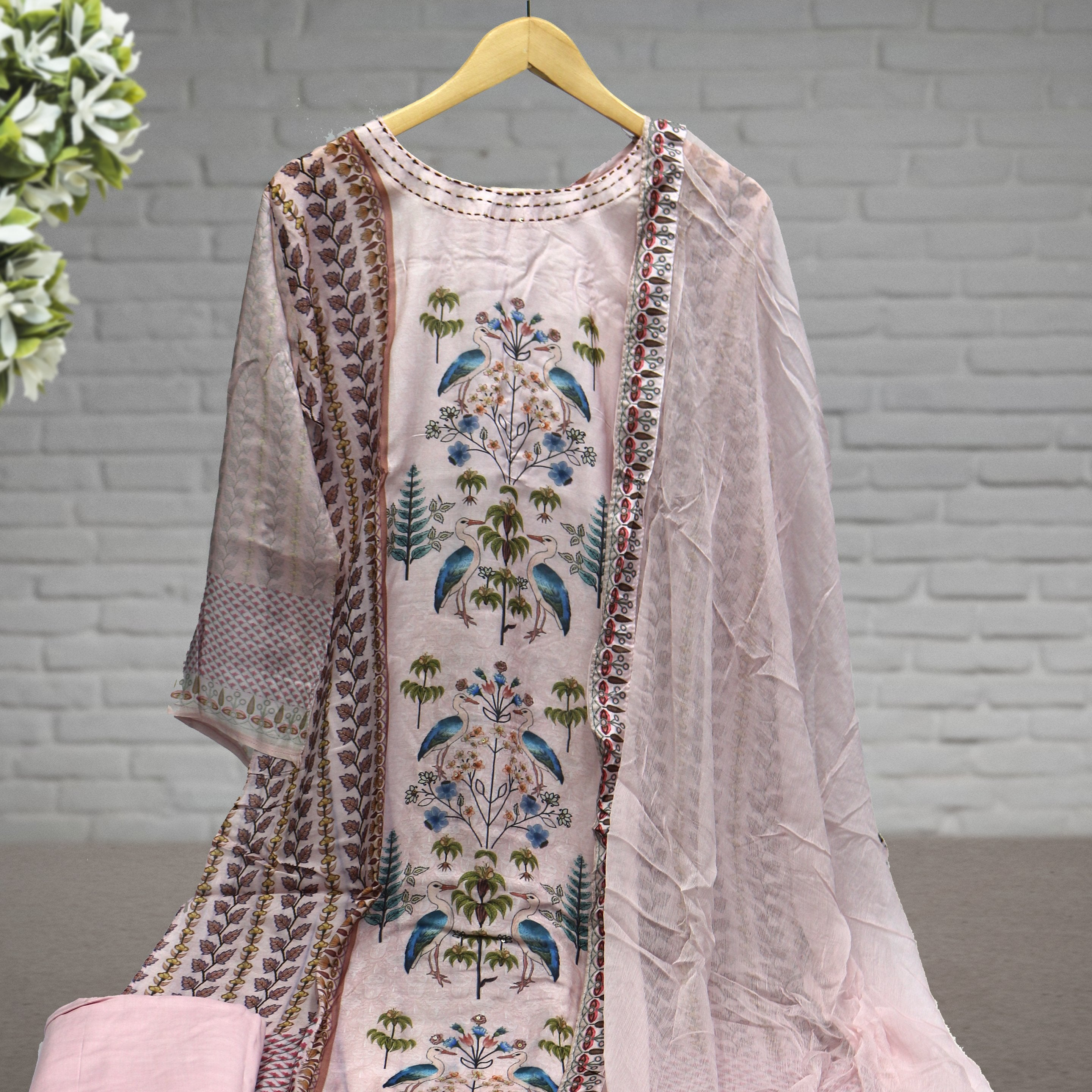 Semi Stitched Digital Printed Pink Suit with Dupatta & Bottom - FAB VOGUE Studio
