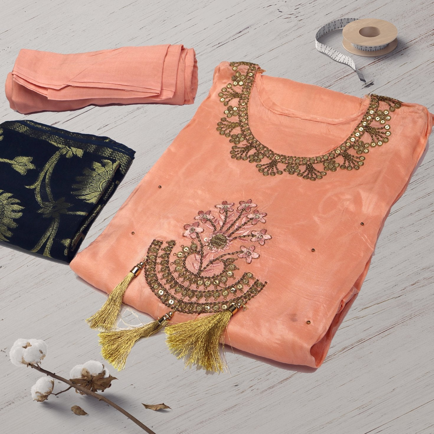 Embroidery Worked Semi Stitched Peach Color Suit with Dupatta and Bottom - FAB VOGUE Studio