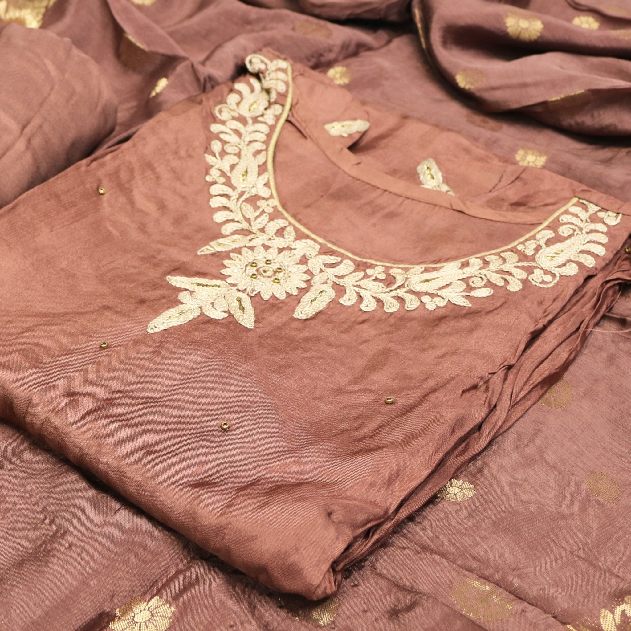Embroidery Worked Semi Stitched Coffee Color Suit with Dupatta & Bottom - FAB VOGUE Studio