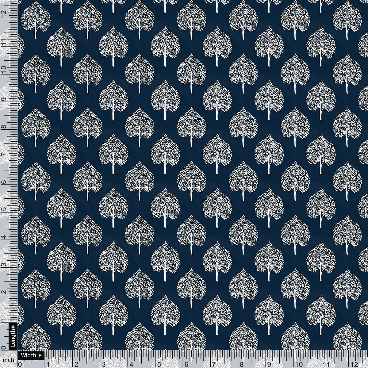 Stylized Mepal Leaf Motif Digital Printed Fabric - Upada Silk - FAB VOGUE Studio