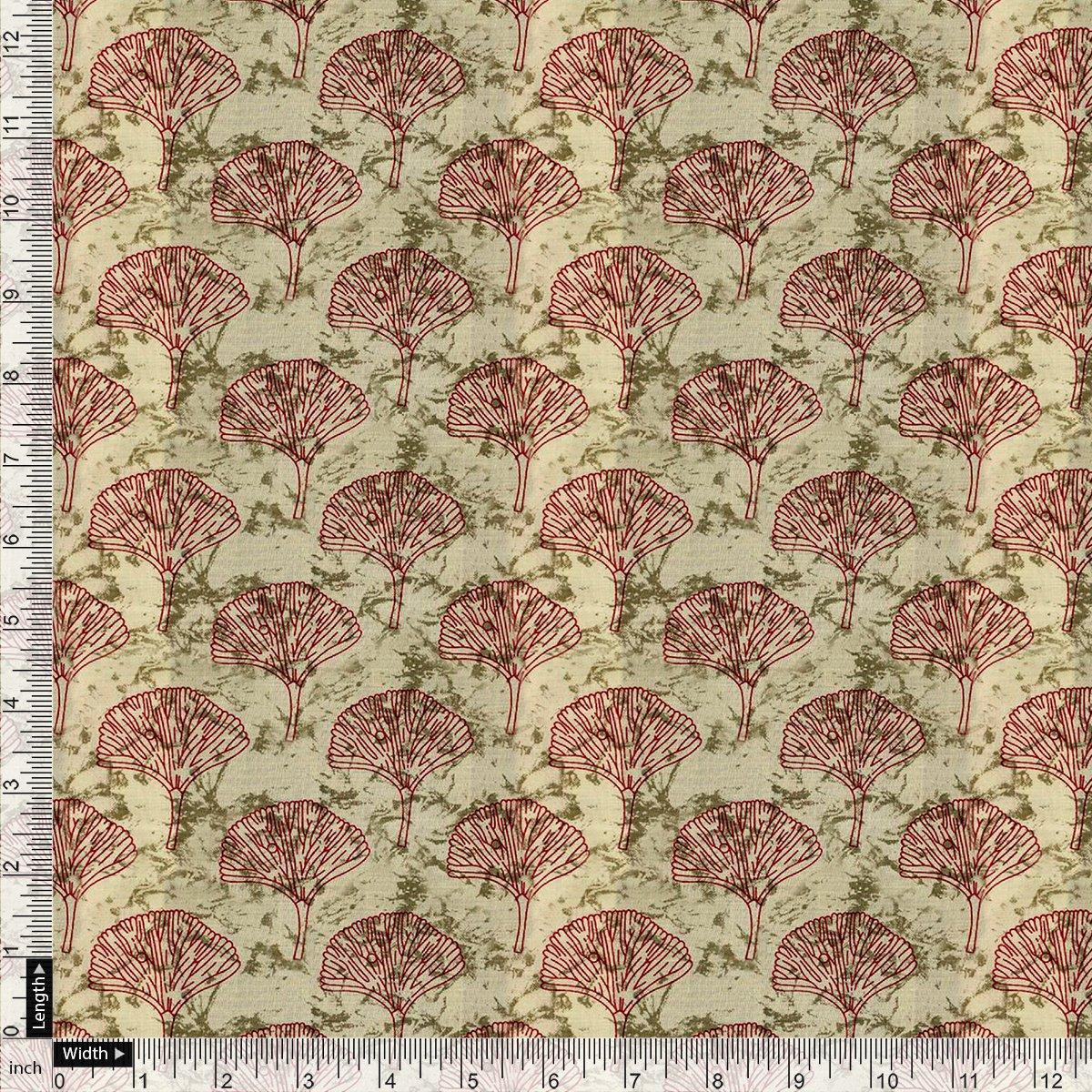 Flower Block Allover Digital Printed Fabric - Upada Silk